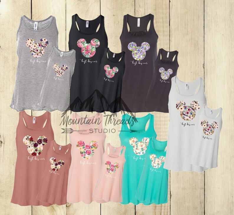 Best day ever floral mickey tank