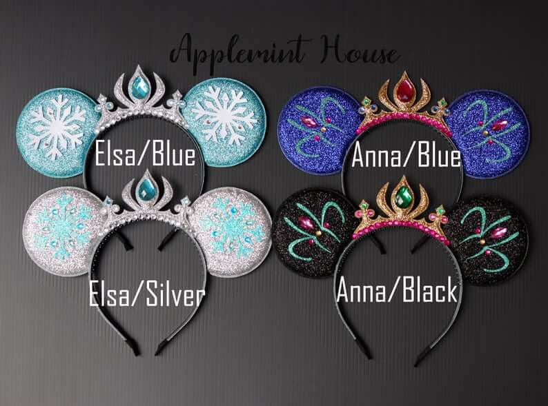 Silver and blue Elsa minnie ears, Blue and green or black and green Anna Minnie ears with crown, explorationmotherhood.com