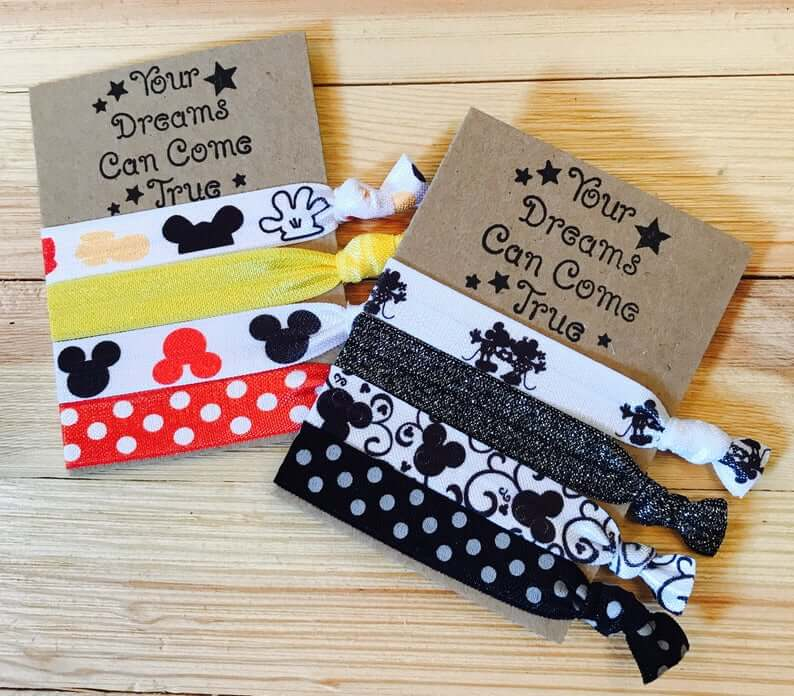 Your Dreams Can Come True- Disney ribbon hair ties with Mickey and Minnie Mouse