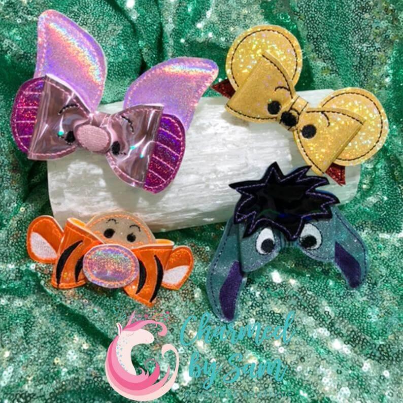 Winnie the Pooh Bear bow, Piglet bow, Tigger bow, Eeyore bow