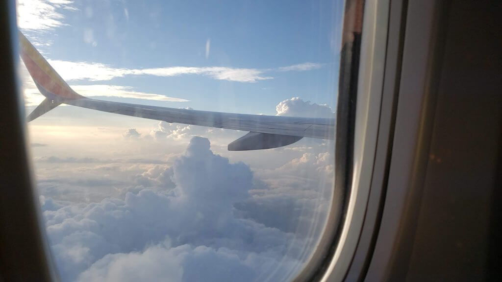 plane wing out the window