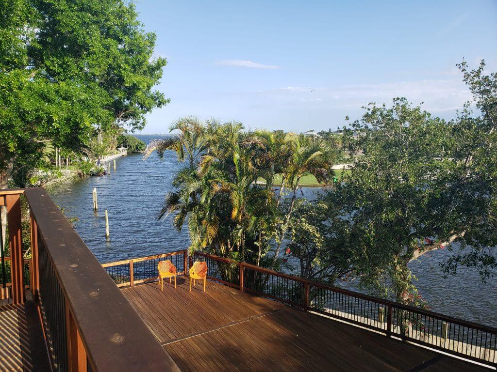 deck over the water with palm trees and greenery exploration motherhood