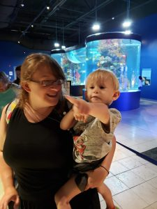 Toddler pointing from mom's arms at aquarium, exploration motherhood