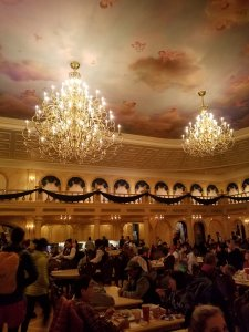 the grand balllroom Be Our Guest in Walt Disney World's Magic Kingdom, exploratiion motherhood