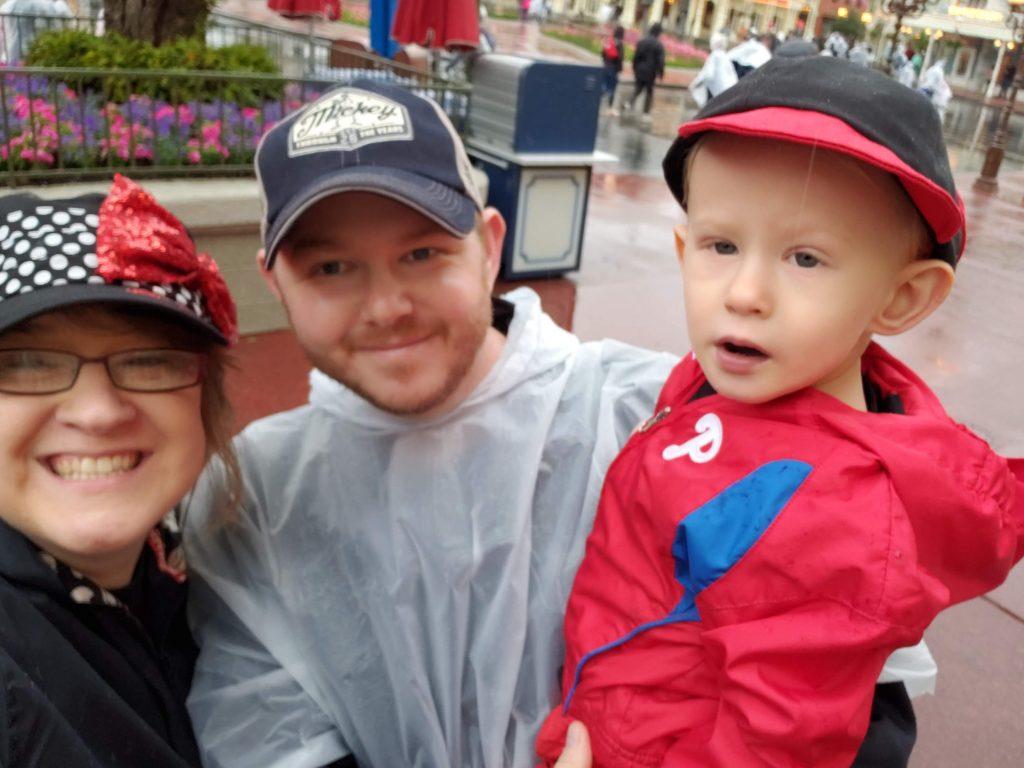 a family selfie in Magic Kingdom